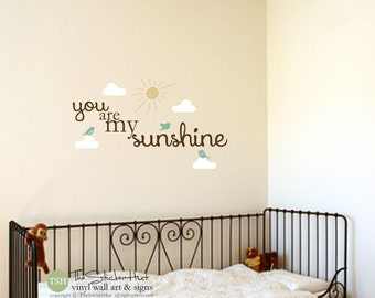 You Are My Sunshine Decals - Clouds Sun Birds - Typography Word Art - Vinyl Sticker - Inspirational Quote - Stickers Decals 1731