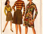 Vintage 60's Sewing Pattern, Misses Blouse and Skirt, Pantskirt, Size 12