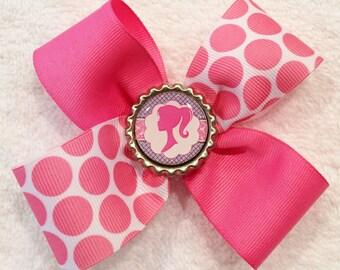 Pink Hair Bow Pink Polka Dot Bow Pink And White Bow Polka Dot Hair Bow Girls Hair Bows