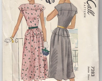 "Vintage Sewing Pattern 1940's Ladies Dress McCall 7283 Size 29"" Bust - Free Pattern Grading E-book Included"