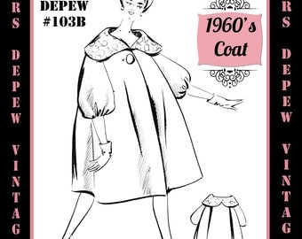 Vintage Sewing Pattern 1960's Swing Coat in Any Size - PLUS Size Included - Depew 103B -INSTANT DOWNLOAD-