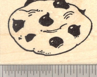 Chocolate Chip Cookie Rubber Stamp G27807 Wood Mounted