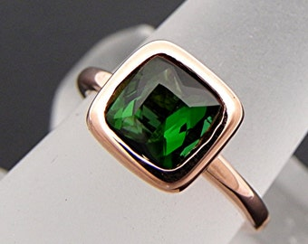 AAA Green Tourmaline Cushion cut   7x7mm  1.25 Carats   in a 14K Rose gold Engagement ring. 2049