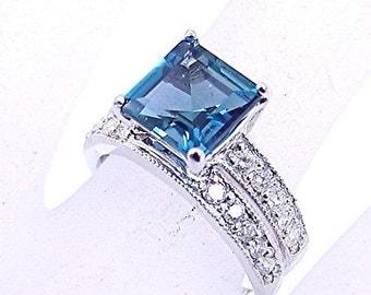 AAAA London Blue Topaz   8x8mm  2.44 Carats   Square cut set in 14k white gold diamond bridal set .60 carats TW