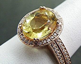 Yellow Beryl   10x8mm  2.49 Carats   in 14K rose gold diamond Halo bridal set(.35ct) 1414 B108