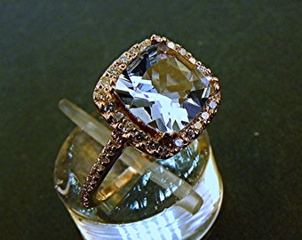AAAA Blue Aquamarine Cushion cut   7x7mm  1.35 Carats   in 14K Rose gold Halo ring with .30 carats of diamonds 1206 H001 MMMM