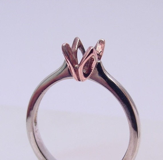 TULIP Custom 14K White Rose gold Solitaire Engagement mounting for your gemstone  5 thru 7mm