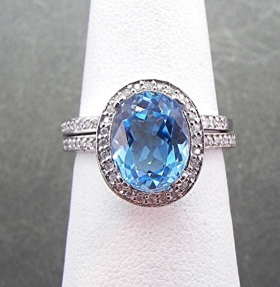 AAA Swiss Blue Topaz 3.41 Carat 10x8mm in 14K White gold diamond bridal set(.50ct) 0970 B108