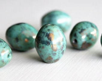 6 Opaque Turquoise Bronze Picasso Luster 20x16mm Czech Glass Puffed Ovals