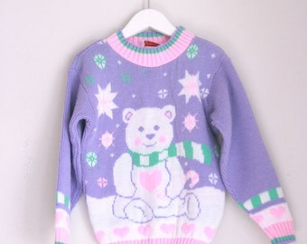 Vintage girls sweater polar bear pink and purple nos