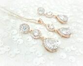 Rose Gold Rhinestone Pendant Necklace, Bridal Earrings, Pink Gold, Wedding Necklace, Rose Gold Bridal Jewelry Set, Wedding Jewelry Set,