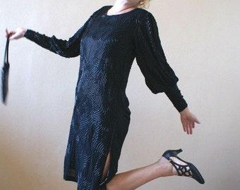Heavily Beaded Black Silk Flapper Style Dress