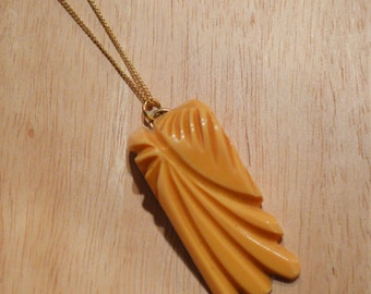 ON SALE! Upcycled 1930s Deco Palm Leaf Necklace