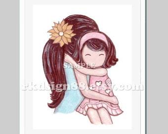 Baby girl nursery art, girl nursery decor, girls room decor, baby wall art, kids wall art, mother daughter, brown, My Sunshine