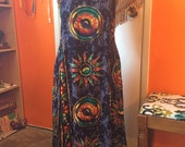 Tribal Maxi Dress // RASTA Clothing // 1990s Grunge // Boho Dress // Gypsy Dress // Festival Wear // Reggae Clothing // XS SMALL