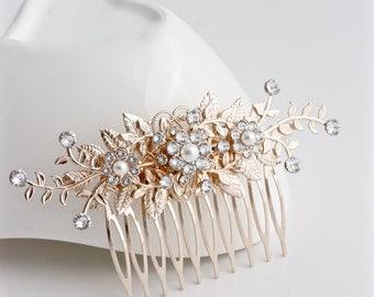 Wedding Hair Accessory Rose Gold Bridal Comb Leaf wedding Comb Pink Gold Crystal Comb Decorative Hair Comb GENOA DELUXE