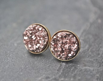 Rose Gold Druzy Stud Earrings Bridesmaid Jewelry Bridal Party