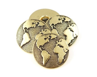 Earth Button by TierraCast - Antique Gold Button Findings Clasp for Leather Jewelry - Leather Findings (PF779)