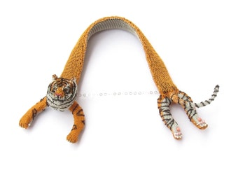 Tiger necklace - animal statement necklace, tiger jewelry, unusual necklace, animal jewelry, cat necklace, cat jewelry, unique necklace