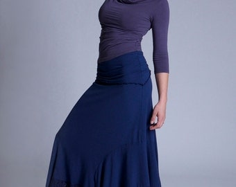 Aphrodite Soy and Organic Cotton Maxi Skirt with Cotton Lace Ruffle