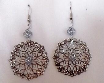 Silver Filigree Bohemian Gypsy Earrings - Blue Accents