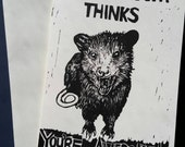 Awesome Opossum Hand Printed Letterpress Linocut Single Card Blank Inside (Black with Black Text)