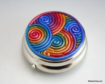 Rainbow Pill Box in Jewel Tone Polymer Clay Filigree (Pewter Finish)