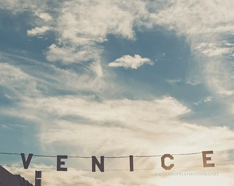photograph of the Venice sign, California print, sunset photo, Los Angeles photography, blue sky, fluffy clouds, loft decor, beach wall art