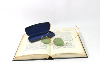 1910s 12k Gold Rims Sunglasses with Case & Wipe Cloth, Green Glass Lenses
