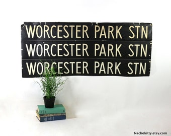 1950s English Bus Roll Sign Worcester Park, England, Vintage Black & White Graphic Wall Art