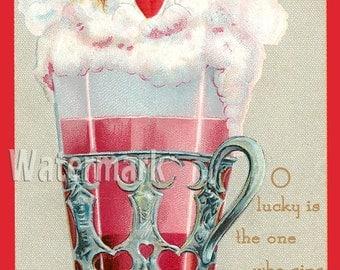 Valentine Wedding Girl Boy Couple Kissing Pink Soda Glass Post card Vintage Scrapbooking Instant Digital Download