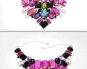 Pink and Black Rhinestone Statement Bib Necklace, Jeweled Pink and Vitrail Bib Necklace, Dramatic Necklace