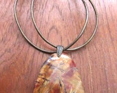 Red Creek Jasper Leather Necklace