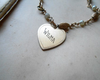 wilma id heart charm engraved personalized vintage jewelry