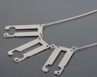 Industrial Jewelry- Silver Upcycled Clock Part Steampunk Necklace, Cyberpunk Jewelry, Modern Contemporary Jewelry, Geometric Jewelry