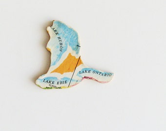 Great Lakes Brooch - Lapel Pin / Upcycled Vintage 1961 Wood Piece / Unique Wearable History Gift Idea / Timeless Gift Under 25
