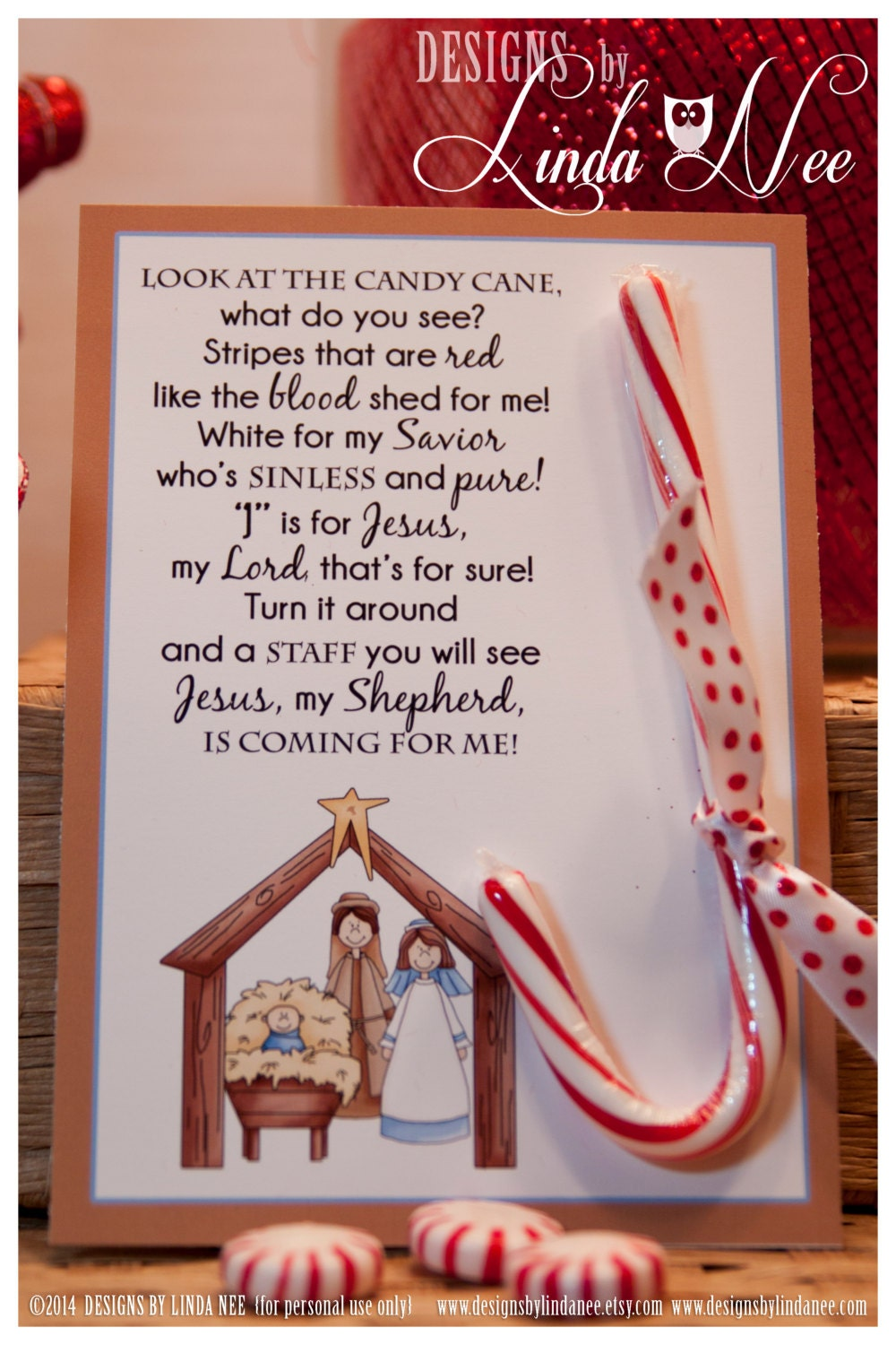 Legend of the Candy Cane Nativity Card for by DesignsbyLindaNee