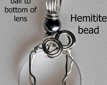 Camera Lens pendant necklace recycled optical glass wire wrapped  lens your choice