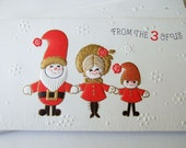 Four Cute Kitsch 1960s Christmas Cards - Unused Vintage with Envelopes
