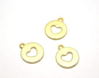 5 pcs Matte 22K Gold Plated Base HEart Charm - Heart 18x14mm-(023-014GP)