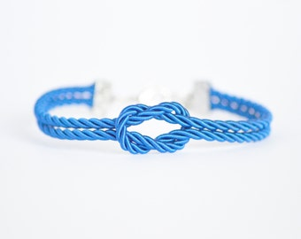 Royal blue forever knot nautical rope bracelet with silver or gold anchor charm