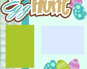 Egg Hunt Boy Easter 2-Page 12X12 Scrapbook Page Kit or Premade Layout