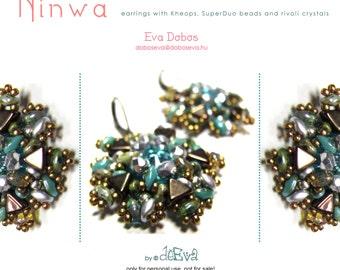 bead pattern / tutorial / instruction - F 61 NINWA - earrings with Kheops, SuperDuo, rivoli,  - Pdf instruction