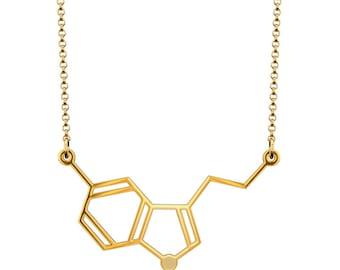 Horizontal Serotonin Molecule Necklace - Gold