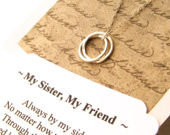 SISTER Necklace - Sister Gift POEM Included Sterling Silver Inseparable Rings Infinity Circles Sister Gift Wrapped