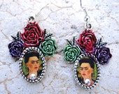 Frida Kahlo 3 Rose Earrings. Feminine and sublime. Portrait by artist, frame is hand painted by me. Crystal dot at neckline.