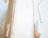 Opal Quartz Point Gold Filled Necklace, Handmade Jewelry, Layering Necklace