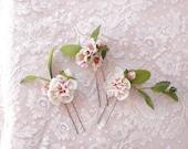 floral hair pins, flower hair pin, bridal hair pins, floral headpiece, bridal hair clips, pink flower hair clip, rustic wedding, ivory #23