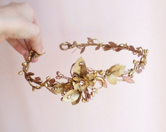 bridal headband, bridal hair vine, bridal hair piece, gold headband, gold bridal headpiece, mauve flower, Swarovski crystals hair piece #36