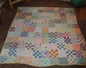 Shabby chic vintage HAND-SEWN 1930's feedsack quilt